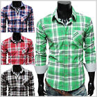 (CHS3) THELEES Mens Casual Stylish Long Sleeve Stripe Patch Checker Shirts