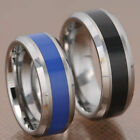 Tungsten Carbide Black Or Blue Inlay Beveled Edge Men's Ring Wedding Band