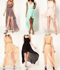 New Womens Round Neck Casual Chiffon See Through uneven Long Dress S M L XL
