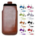 M- BROWN PULL TAB POUCH CASE COVER + HANDS FREE fOr Samsung Genio Qwerty B3210