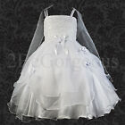 Wedding Flower Girl Party Communion Occasion Party Dress Gown Age 2-9yrs 008L-WE