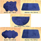 NEW SOFT FLUFFY  PLAIN WASHABLE DARK BLUE COLOUR FAKE FAUX FUR SHEEP SKIN RUGS