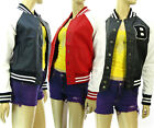 3Colors Women's Varsity Baseball Jacket Faux Leather Outerwears Casual Jacket