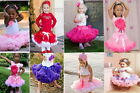 NWT GIRLS KIDS SKIRT 1-8Y PARTY DANCE TUTU DRESS PETTISKIRT FREE FLOWER HEADBAND