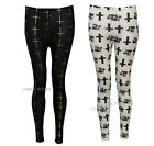 K31 NEW WOMENS LADIES CROSS FOIL PRINT FULL LENGTH LEGGINGS IN SIZE 08,10,12,14.