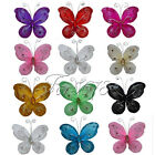 "10 Of 3"" 7.62cm Nylon Glitter Artificial Butterfly Rhinestone Wedding Favor"