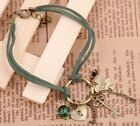 1pcs Retro Army green leather Clover/Lock/Key green bead bracelet Bangle Fashion