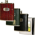 Stainless Steel & Leather Hip Flasks 4oz/6oz Hunting Shooting Fishing Gift Set