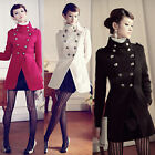 Women's Wool Double-Breasted Button Trench Jacket Military Stand Collar Coat Top