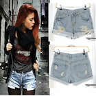Vintage Inspired Destroyed Ripped Off High Waisted Denim Shorts