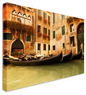 Venice Gondolas Mid City Canvas Wall Art Picture Large + Any Size