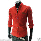 AL) Mens casual Slim fit Leather Patched Pocket Checker Roll Long Sleeve shirts