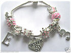 """CHILDRENS GIRLS 6"""" SISTER INITIAL AGE PINK CHARM BRACELET 10 CHARMS"""