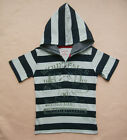 NEW Pumpkin Patch Boys Stripe Hooded Tee SZ 0,1,2,3,4,5 S/S Cotton T-shirts Top