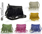 BLACK BLUE GREEN RED LYDC Faux Leather Fringe Tassels Messenger Cross Body Bag
