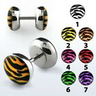 Zebra Print Earring Fake Flesh Plug Animal Skin Ring Stud Ear Stretcher Piercing