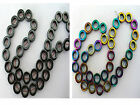 "34pcs Gemstone Hematite Donut Beads In Polished & Rainbow Colour 16"" 12mm x 4mm"