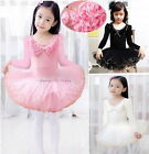 Girl New Leotard Long Sleeve Ballet Tutu Dance Party Dress 3-9Y Kids 3 Color