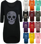 Womens Plus Size Skull Tail Back Dip Hem Ladies Long Scoop Neck Sleeve Top 12-26