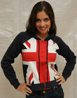 Ladies Union Jack Zipped Hooded Sweatshirt-S-XL GWCC Royal British Queen Kate To