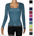 Women's Warm Winter Round Neck Waffle Knit Thermal Top - Many Colors - S- 2XL
