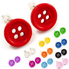 Cute Kitsch Button Stud Earrings Gift Present Christmas Retro Vintage Toy Silver