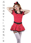 Womens miss mouse mini dress fancy dress costume minnie's outfit 6 8 10 XS S