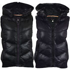 LADIES QUILTED BODYWARMER HOODED PADDED WOMEN GILET PUFFER JACKET ZIP POCKETS