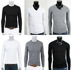 Mens Shirts Casual Plain 100% Cotton T Shirts Shirt Tops V Neck Crew Round Neck