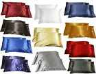 2pc New Queen/Standard Silk~y Satin Pillow Case Multiple Colors image