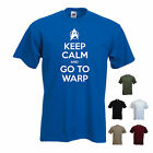 'Keep Calm and Go To Warp' Star Trek Movie / Kirk / Picard. mens Funny T-shirt.