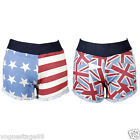 American Fever Sporty Flag Hot Pants Hotpants Angled Denim Shorts Britain USA