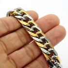 9/11/13mm MENS Silver Gold Curb 316L Stainless Steel Bracelet Chain 7-11inch