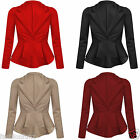 NEW WOMENS LADIES CROP FRILL SHIFT FITTED PEPLUM SEXY BLAZER JACKET COAT 8/14