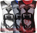 T96 NEW WOMENS ANIMAL TIGER FACE PRINT SLEEVELESS TOP LADIES LION T SHIRT VEST.