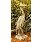"33"" Garden Egret Bird Statue - Folk Art Statuary - Durable Fiberstone Yard Art"