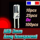 215R# LED 3mm rouge cylindrique long- dispo 10, 25 ou 100pcs * red flat TOP