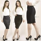 Office Shirring Sleek Slim High waisted Stretch Career Fitted Knee Pencil SKIRT