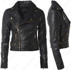 Size 8 10 12 14 16 NEW Womens BIKER JACKET FAUX LEATHER Ladies ZIP Coat Black