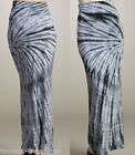 Bohemian Tie Dye Ombre Soft Jersey Maxi Skirt Banded Foldover Boho Hippie Long
