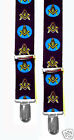 MASONIC SUSPENDERS BLACK w/BLUE LODGE EMBLEM - 3 SIZES/LENGTHS - MADE IN THE USA