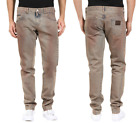 DOLCE&GABBANA '14 GOLD' Slim Straight Metal Plate Stone Wash Jeans NEW NWT