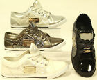 New Ladies Womens Flat Lace Up Quilted Pumps Trainers Size 3 4 5 6 7 8