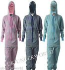 UNISEX ADULTS MENS WOMENS STRIPED HOODED ZIP ONESIE PLAYSUIT ALL IN ONE JUMPSUIT