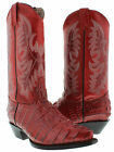 WOMEN'S LADIES RED CROCODILE ALLIGATOR TAIL LEATHER COWBOY BOOTS WESTERN RODEO