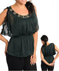 Ladies Plus Size Polka Stones Cocktail Party Top Size 14 XL 16 2XL  NEW