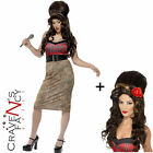 Ladies Amy Winehouse Celeb Rehab Womens Fancy Dress Costume Add Beehive Wig Hen