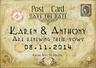 PERSONALISED VINTAGE MAP POSTCARD WEDDING SAVE THE DATE CARDS x 10 -SHABBY CHIC
