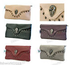 KOKO BLACK RED BEIGE PURPLE GREY Faux Leather Skull Stud Evening Clutch Bag #891