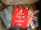 Novelty Keep Calm And Carry On Themed Plastic Gift / Carrier Bag * Choose Slogan